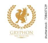 gryphon royal logo with laurel   Shutterstock .eps vector #738637129