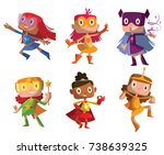 vector set of cartoon images of ... | Shutterstock .eps vector #738639325