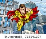 cartoon superhero in a pop art... | Shutterstock .eps vector #738641374
