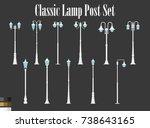 vector white classic lamp post... | Shutterstock .eps vector #738643165