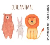 watercolor set animal cute... | Shutterstock . vector #738643801