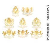 royal logo collection lion and... | Shutterstock .eps vector #738653971