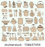 kitchen icon doodle set | Shutterstock .eps vector #738657454