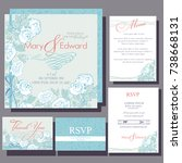set of wedding cards with white ... | Shutterstock .eps vector #738668131