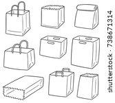 vector set of paper bag | Shutterstock .eps vector #738671314
