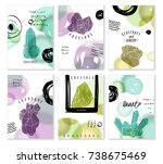 six vertical cards with... | Shutterstock .eps vector #738675469