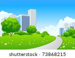 green landscape with tree road... | Shutterstock .eps vector #73868215
