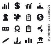 16 vector icon set   graph ... | Shutterstock .eps vector #738685201