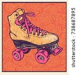 retro roller skate and hand... | Shutterstock .eps vector #738687895