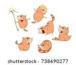 set  cartoon illustration. a... | Shutterstock . vector #738690277