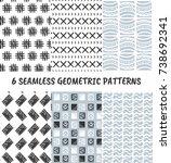 set of 6 vector abstract... | Shutterstock .eps vector #738692341
