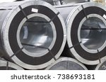 rolls of cold rolled galvanized ... | Shutterstock . vector #738693181