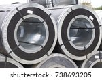 rolls of cold rolled galvanized ... | Shutterstock . vector #738693205