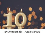 gold number 10 celebration... | Shutterstock . vector #738695401