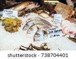 freshly caught sea bream fishes ... | Shutterstock . vector #738704401