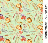 seamless autumn pattern with... | Shutterstock . vector #738705124