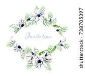 rhombus floral frame border...   Shutterstock . vector #738705397
