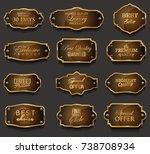 retro vintage golden frames... | Shutterstock .eps vector #738708934