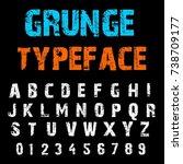 handcrafted alphabet script... | Shutterstock .eps vector #738709177