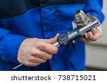 engineer in factory with... | Shutterstock . vector #738715021