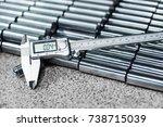 electronic caliper. close up ...   Shutterstock . vector #738715039