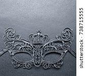 black carnival mask on a gray... | Shutterstock . vector #738715555