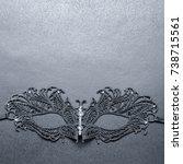 black carnival mask on a gray... | Shutterstock . vector #738715561