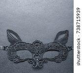 black carnival mask on a gray... | Shutterstock . vector #738715939