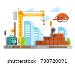 construction site design with... | Shutterstock .eps vector #738720091