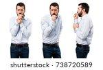 set of handsome man with beard...   Shutterstock . vector #738720589