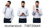 set of happy handsome man with... | Shutterstock . vector #738720664