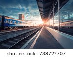 beautiful train with blue... | Shutterstock . vector #738722707