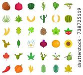 botany icons set. cartoon style ... | Shutterstock . vector #738725119