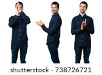 set of handsome man applauding | Shutterstock . vector #738726721