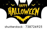 vector happy halloween... | Shutterstock .eps vector #738726925