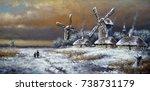 winter village  landscape...   Shutterstock . vector #738731179