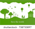 paper art carving of save world ... | Shutterstock .eps vector #738733897