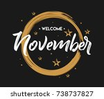 welcome november   grunge  ... | Shutterstock .eps vector #738737827