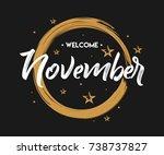welcome november   grunge  ... | Shutterstock .eps vector #738737827