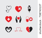 heart care icons set vector.  | Shutterstock .eps vector #738743137