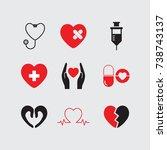 heart care icons set vector.  | Shutterstock .eps vector #738743137