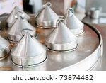 Chinese steel metal lip for cooking Dim Sum chinese food. - stock photo