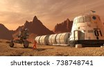 mars colony. expedition on... | Shutterstock . vector #738748741