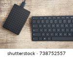 stylish black wireless keyboard ... | Shutterstock . vector #738752557