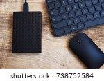 stylish black wireless keyboard ... | Shutterstock . vector #738752584
