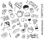 collection of handdrawn food...   Shutterstock .eps vector #738757114