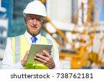 senior engineer man in suit and ... | Shutterstock . vector #738762181