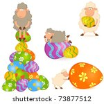 Easter Sheep With Colored Egg....