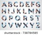 english puzzle alphabet. color...   Shutterstock .eps vector #738784585