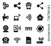 16 vector icon set   gear ... | Shutterstock .eps vector #738786361